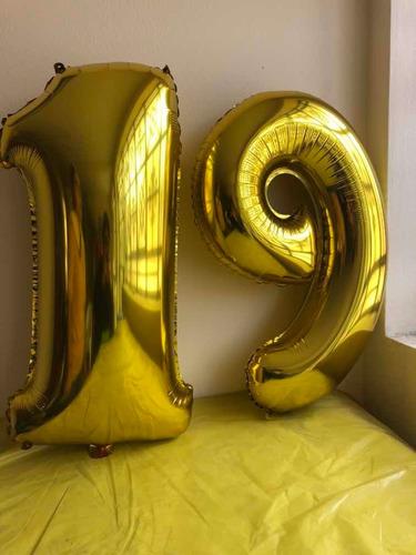 globos metálico letras y números dorado, plateado
