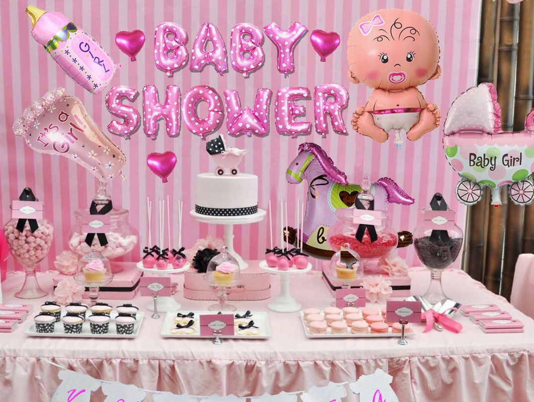 Globos met licos baby shower decoraci n pack kit completo for Decoracion para pared de baby shower