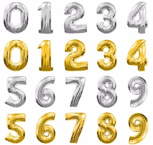 globos metalicos de numeros 80 cm plateado y dorado