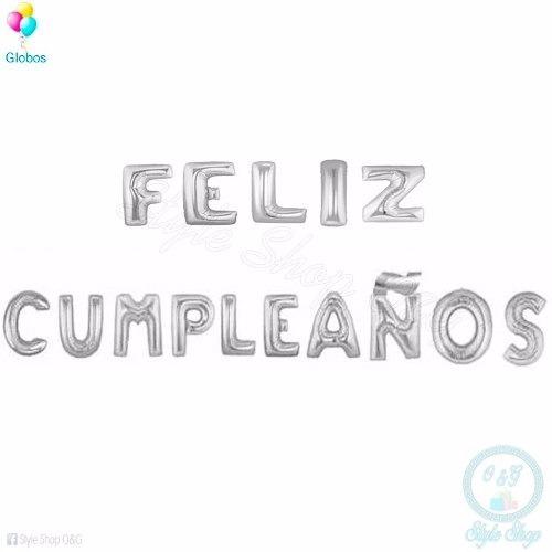 globos metalicos letras feliz cumpleaños dorado y plateado