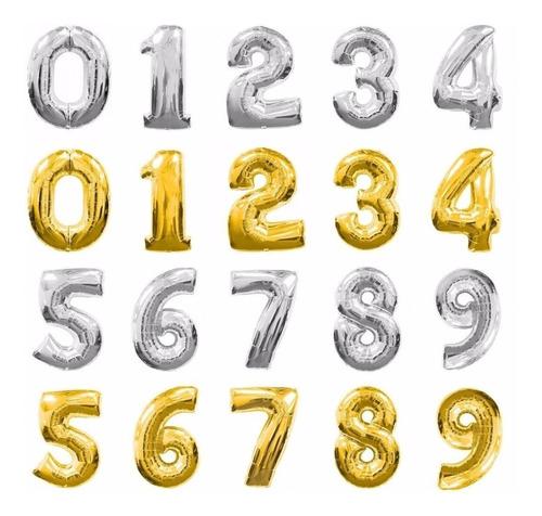 globos metalizados 45 cm - números o letras - cotillón