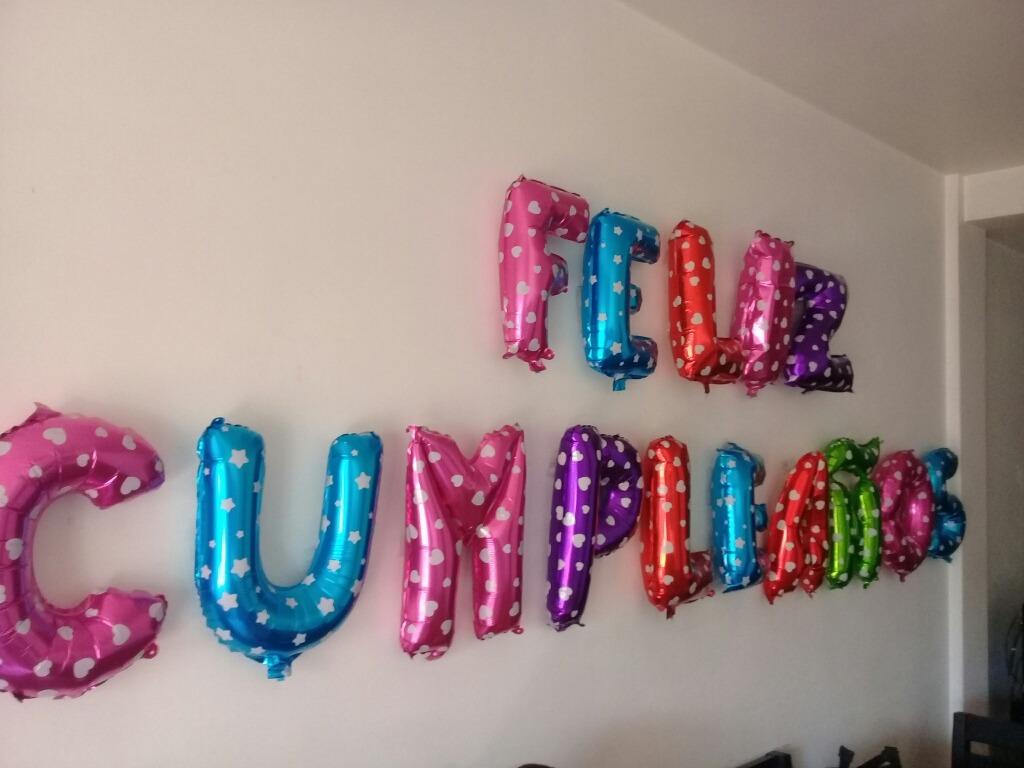 Globos Metalizados Colores Feliz Cumpleaños Letras Numeros - $ 750 ...