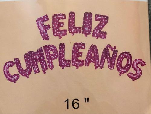 globos metalizados con formas letras feliz cumpleaños