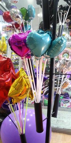 globos metalizados corazones de 12 cm. pack por 5 unidades