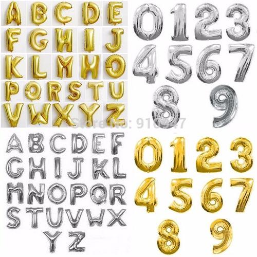 globos metalizados de letras dorados plateados 35 cm aprox
