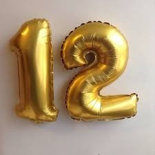 globos metalizados de números dorados plateados 40 cm