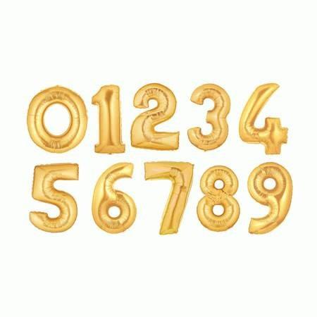 globos metalizados de números dorados plateados 40cm