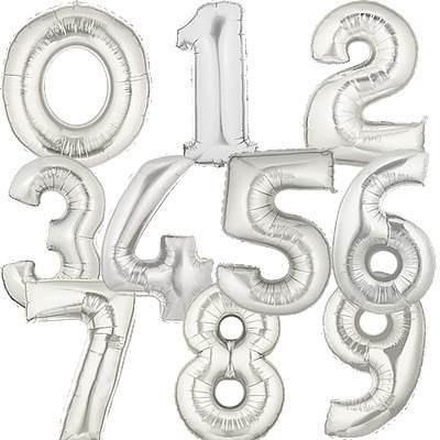 globos metalizados de números dorados y plateados 75cm