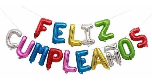 globos metalizados feliz cumpleaños colores fiesta deco
