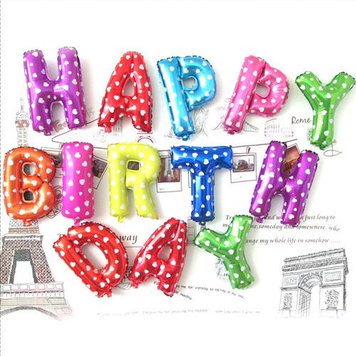 globos metalizados happy birthday multicolor 40cm