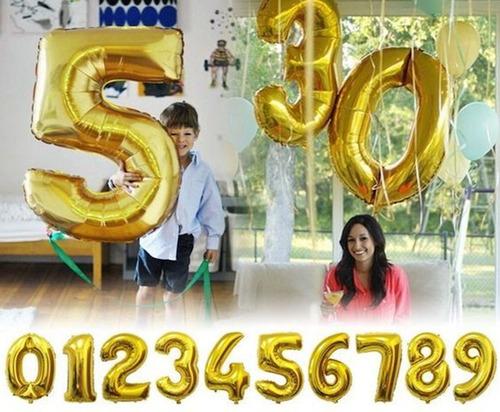 globos metalizados numero 80 cm letras fiesta cotillon
