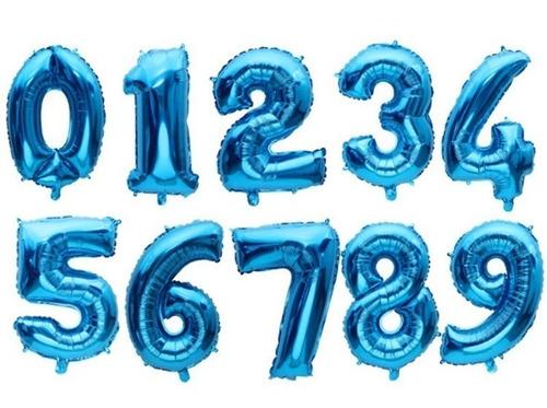 globos metalizados números 41 cm azul