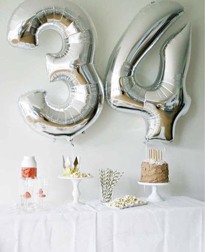 globos metalizados números dorados plateados 1 metro