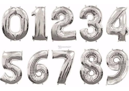 globos metalizados plateado numeros 40 cm