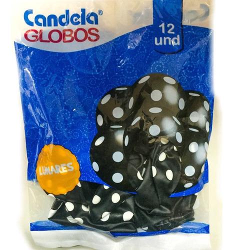 globos negros c/ lunares blancos x12un - la golosineria