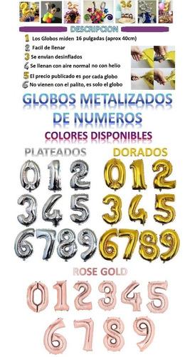 globos numero letra plateado dorado rose 40cm (1 globo 35mil