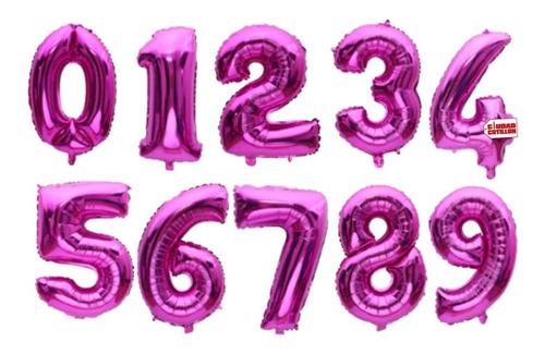 globos números metalizados fucsia 14 pulgadas x 1 - cc