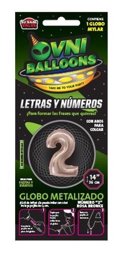 globos números metalizados rosa gold 14 pulgadas x 1 - cc