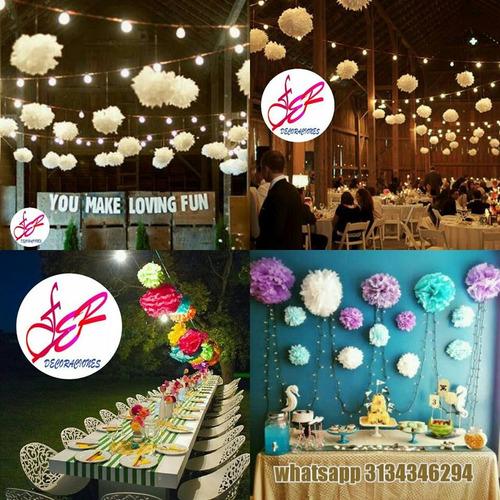 globos papel chinos bombas metalizadas pompones seda boda