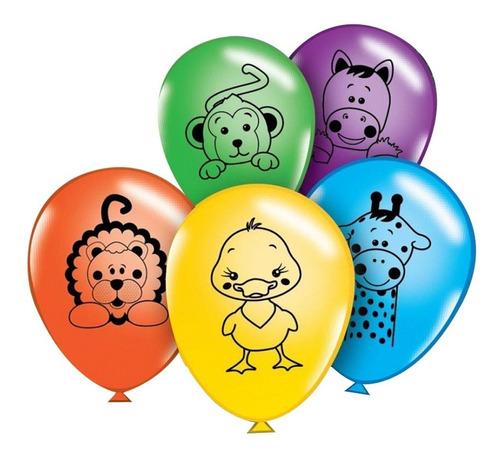 globos party time animal granja 12  x 12u - ciudad cotillón