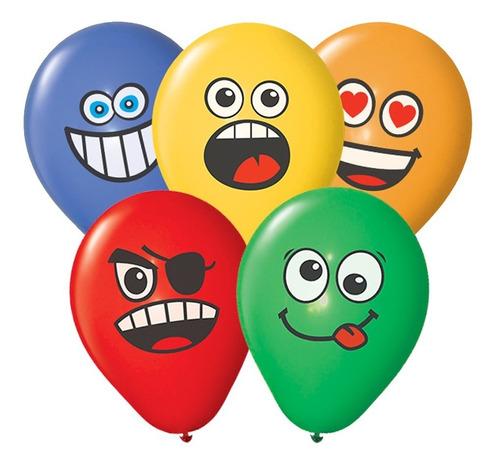 globos party time caras emoji 12 x 12u - ciudad cotillón