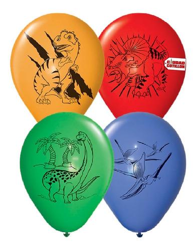 globos party time dinosaurios 12 x 12u - ciudad cotillón