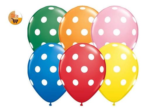 globos polka (lunares) r -12 paquete x 12 unid tamaño 30 cmt