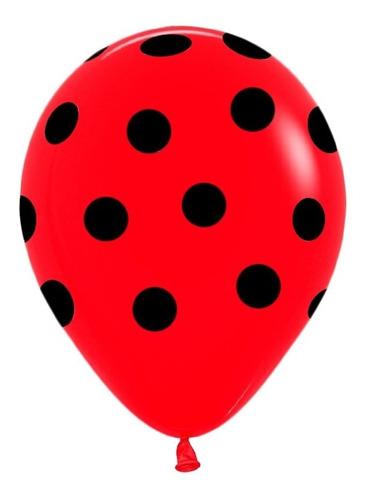 globos rojos c/ lunares negros x12un - la golosineria