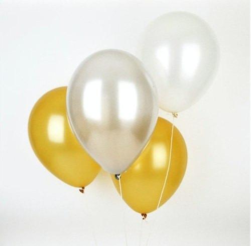Globos satinados color dorado plateado blanco perla 25 - Llenar globos con helio ...