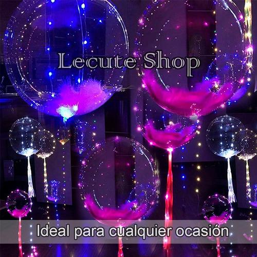 globos transparentes led luz 40 cm san valentin amor amistad