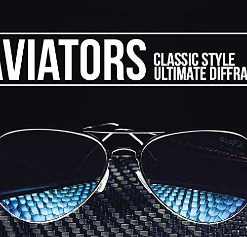 glofx metal pilot aviator style diffraction glasses - blu