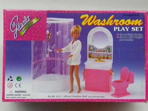 gloria baño para muebles de casa muñecas 11.5