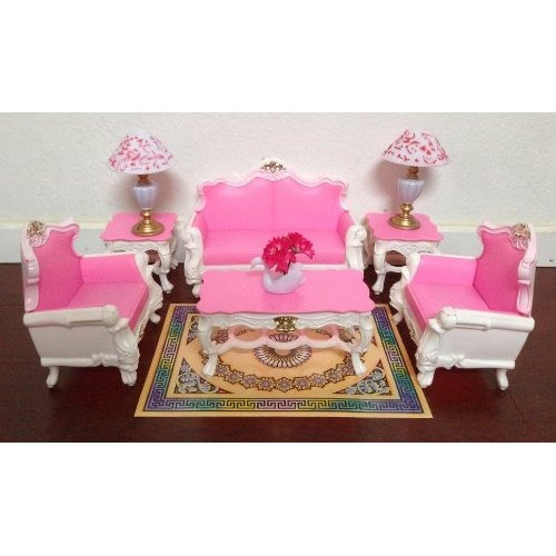 Gloria barbie sized deluxe sala de estar muebles y for Muebles para barbie