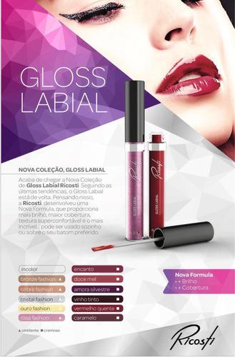 gloss labial ricosti novas cores - ricosti