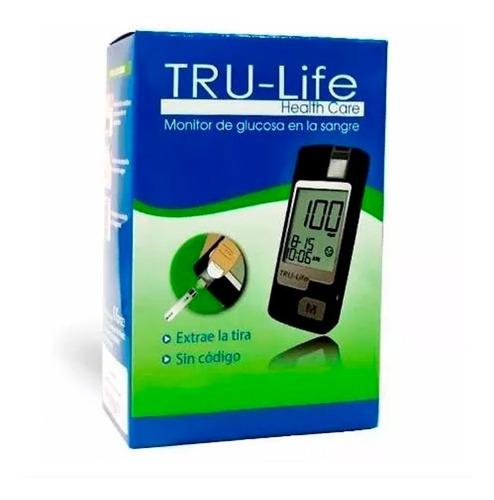 glucometro tru-life + 10 lancetas + 10 tirillas + lancetero