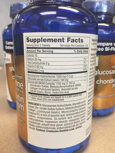 glucosamina + condoitrina + msm, 220 pastillas members mark
