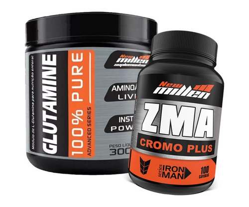 glutamina l-glutamine 300g + zma cr 100 caps - new millen