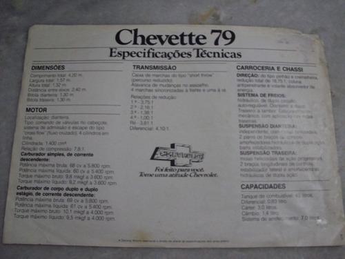 gm chevette 79 folder prospecto de venda dados tecnicos