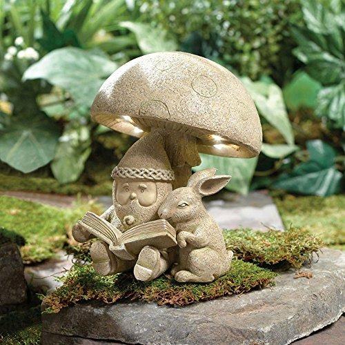 Gnomo Iluminado Que Lee A La Escultura Del Jardin De La Res - Escultura-jardin