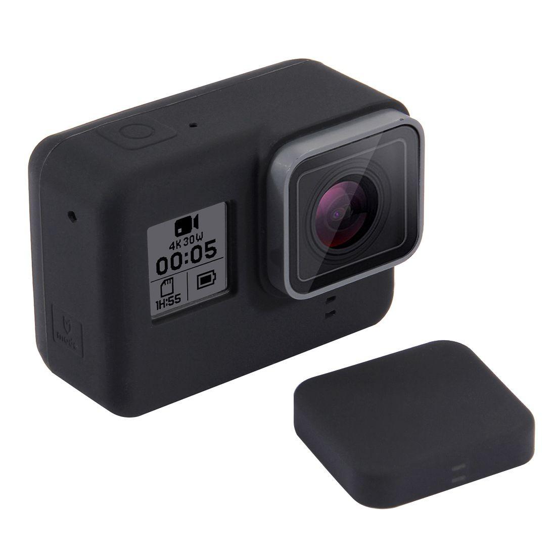 6506146179491 go pro capa protetora + tampa de silicone gopro hero 5 6 7. Carregando zoom.