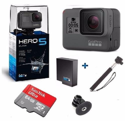 go pro hero5 black camera gopro 5 tela lcd + 64gb + bateria
