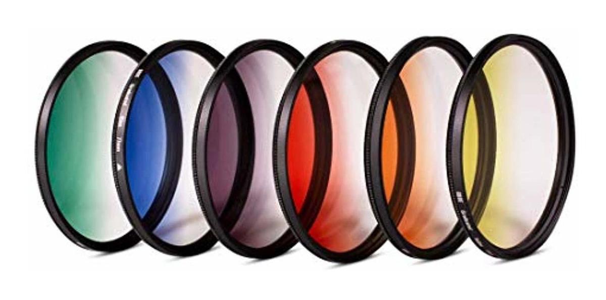 Filtros de Color Graduado 43mm: Naranja Rojo Azul Gobe Gris