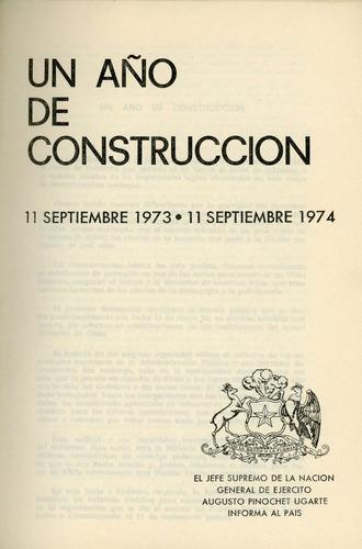gobierno militar, mensaje primer año de gobierno, 1973-1974