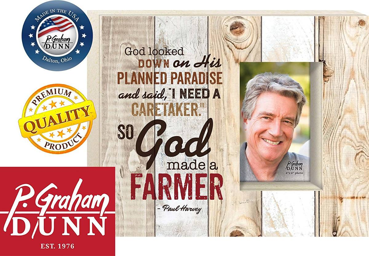 God Made A Farmer 10 X 12 Wood Plank Design Picture Frame Wa