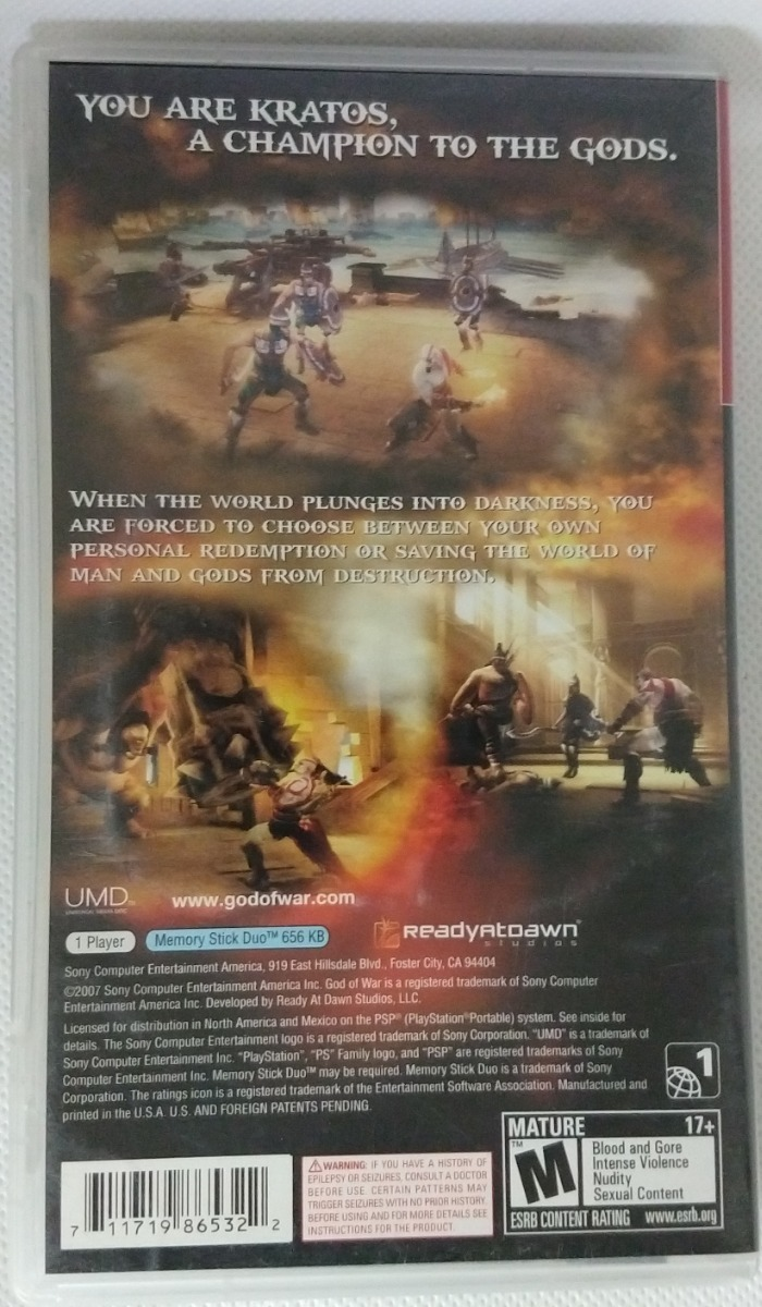 God Of War Chains Of Olympus G h  / Psp / *gmsvgspcs*