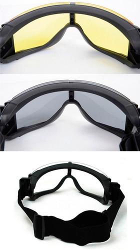 goggles lentes 3ls tactico militar gotcha gafas moto airsoft