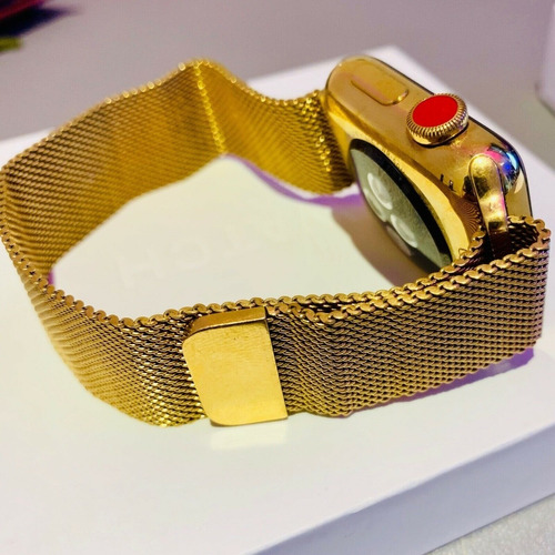gold apple watch series 4 42mm milanese loop stainless steel