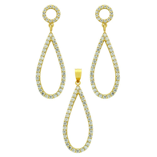 gold plated set: drop shaped outline cz pave