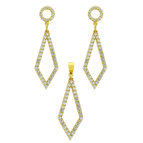 gold plated set: kite shaped outline cz pave earrings a