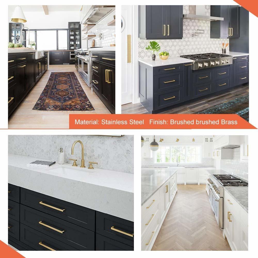 Brushed Brass Cabinet Handles Kitchen Drawer Knobs Goldenwarm